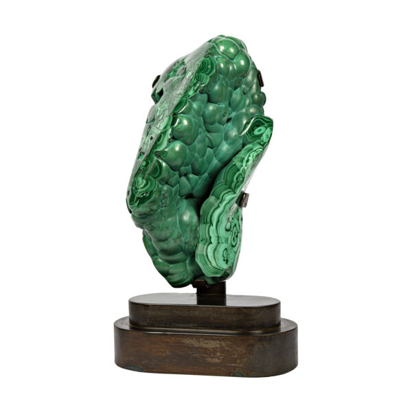 Closeup photo of Malachite On Custom Stand -Partial Polished From Congo