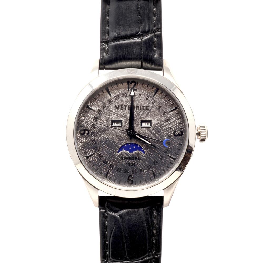 Muonionalusta Meteorite Watch -Rhodium: Miyota With Moon Phases