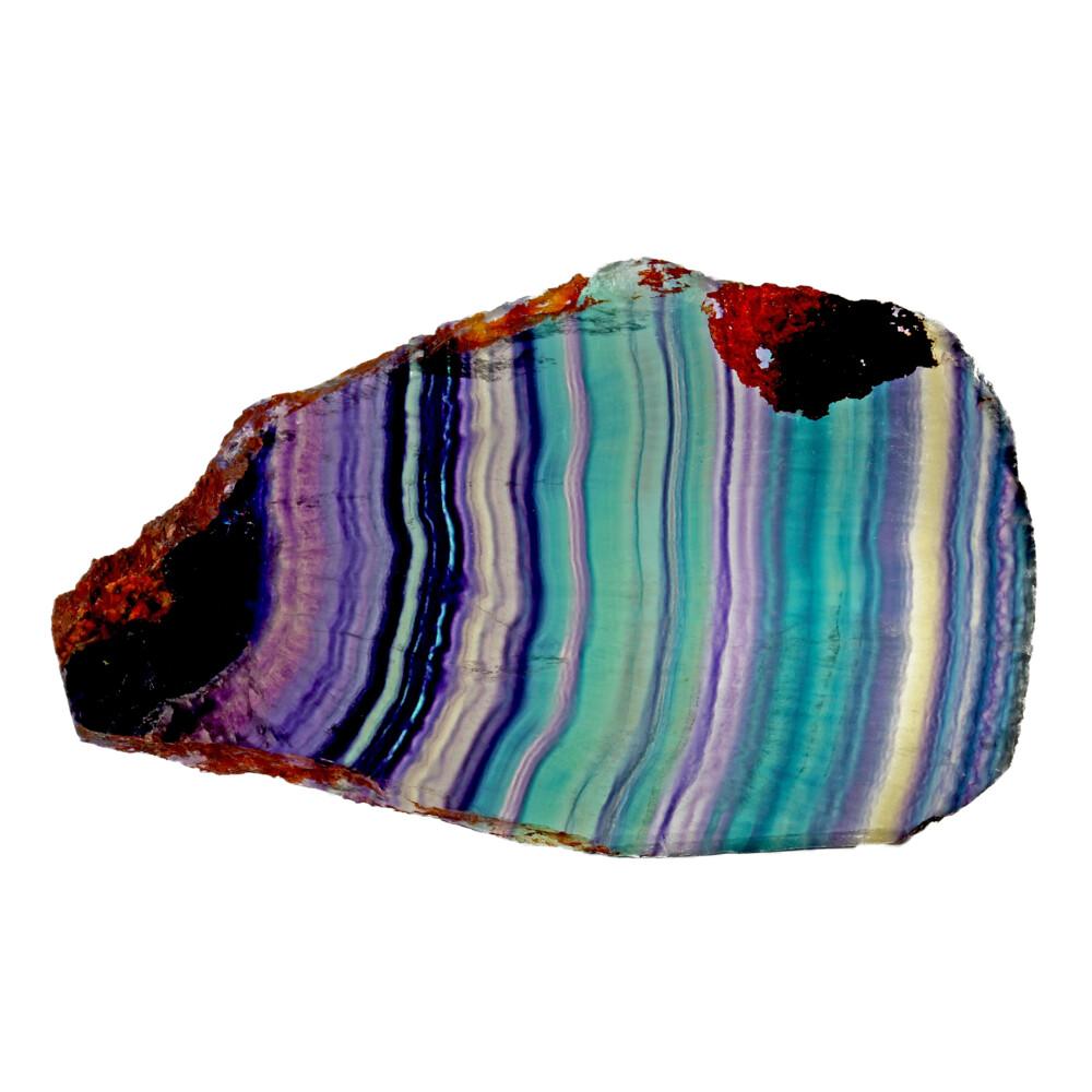 Rainbow Fluorite Slice With Natural Edge
