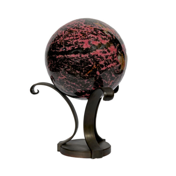 Closeup photo of Rhodonite Sphere On Custom Metal Stand- 3 Spiral Bouquet Style