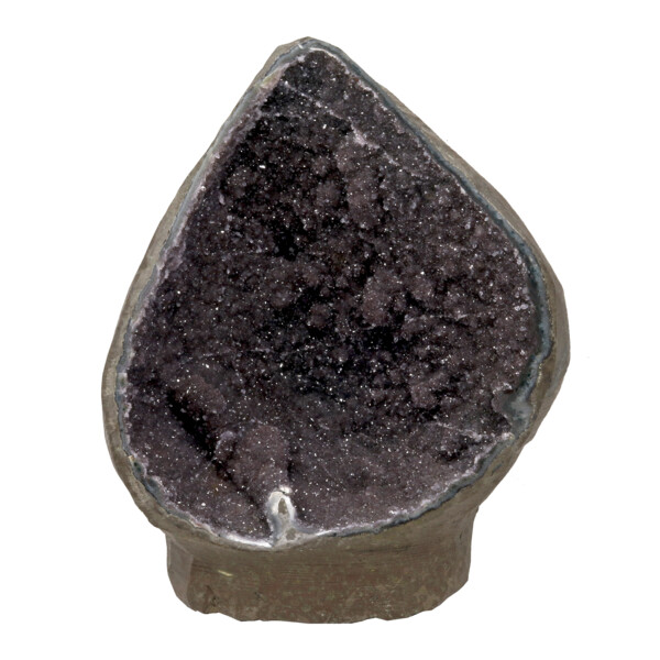 Closeup photo of Black Amethyst Druze Geode With Stalactites & Cut Base