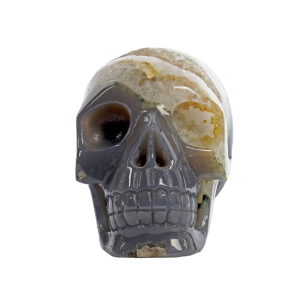 Closeup photo of Agate Geode Skull Carving With Druze
