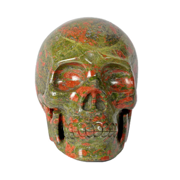 Closeup photo of Unakite Skull -Large