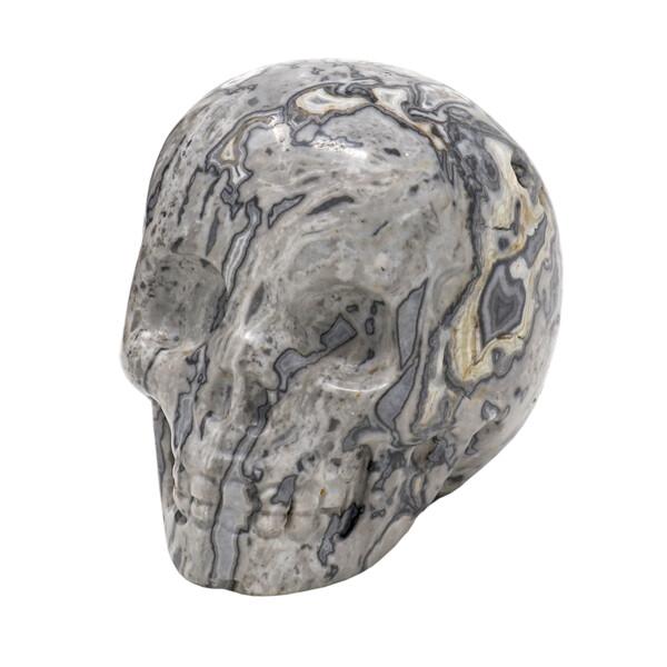 Closeup photo of Zebra Jasper Skull