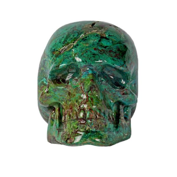Closeup photo of Chrysocolla Malachite Carved Skull