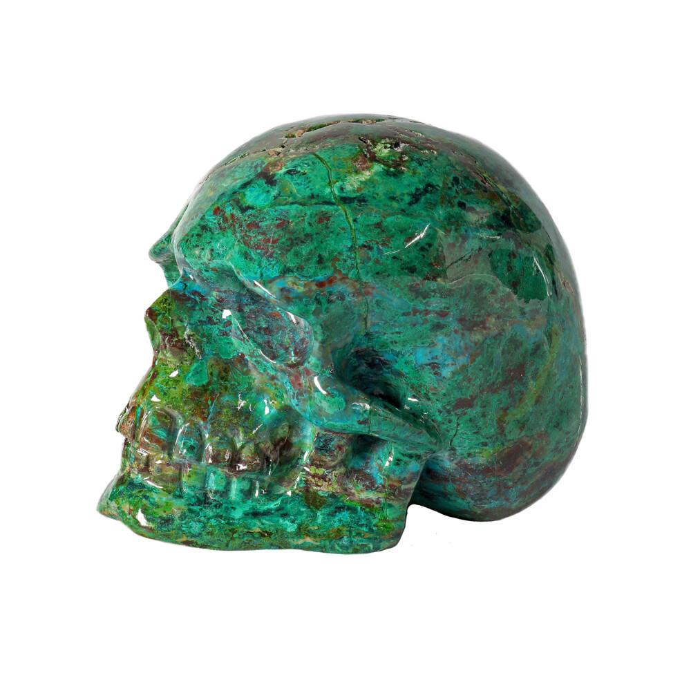 Chrysocolla Malachite Carved Skull
