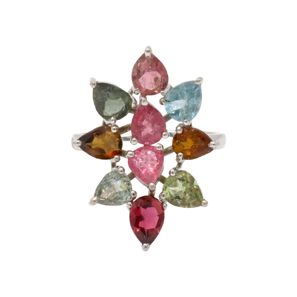 Multi Tourmaline Ring -10 Faceted Pears As Flower Sz5
