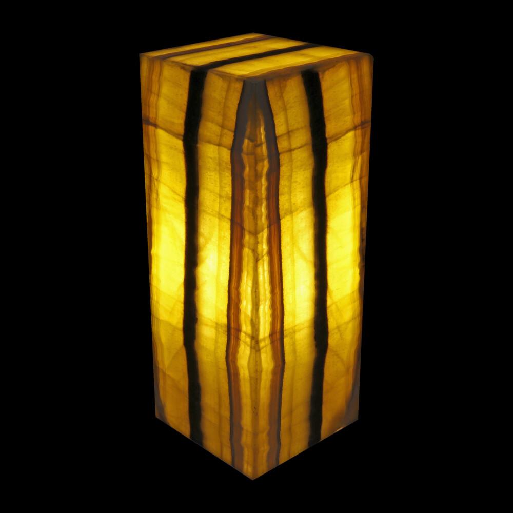 "Image 2 for Onyx Luminary - 6"" Sq X 15"" Yellow & Black"