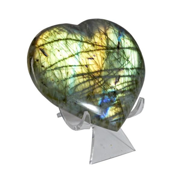 "Closeup photo of Labradorite Heart -Flat 3.5"" Width"