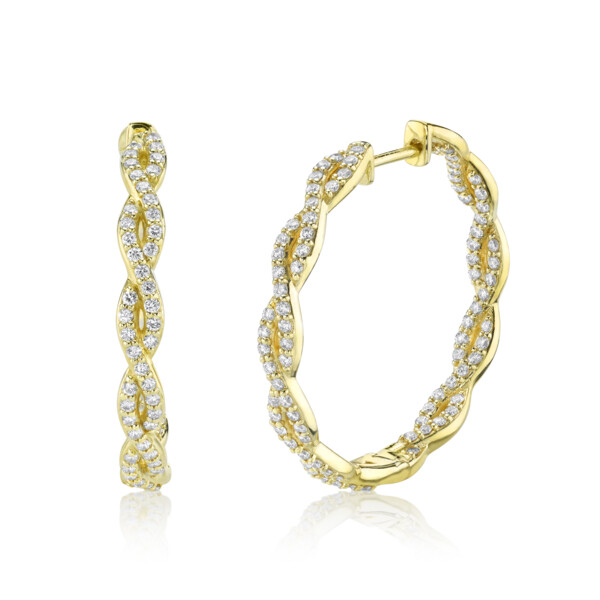 Closeup photo of Pave Diamond Braided Medium Hoop Earrungs