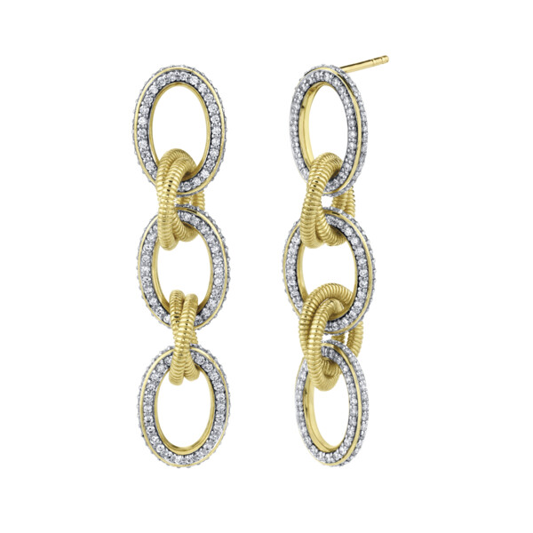 Closeup photo of Pave Diamond Link Medium Drop Earrings