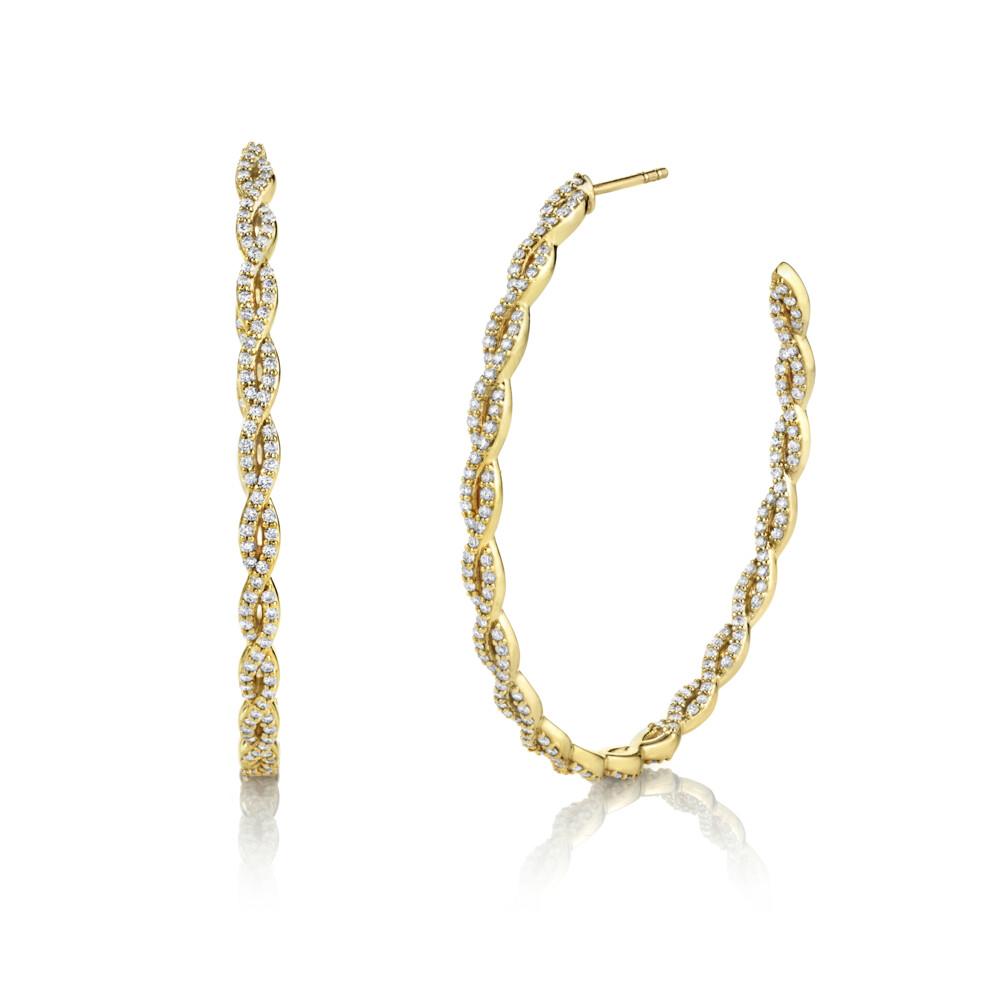 Pave Diamond Braided Large Hoop Earrings