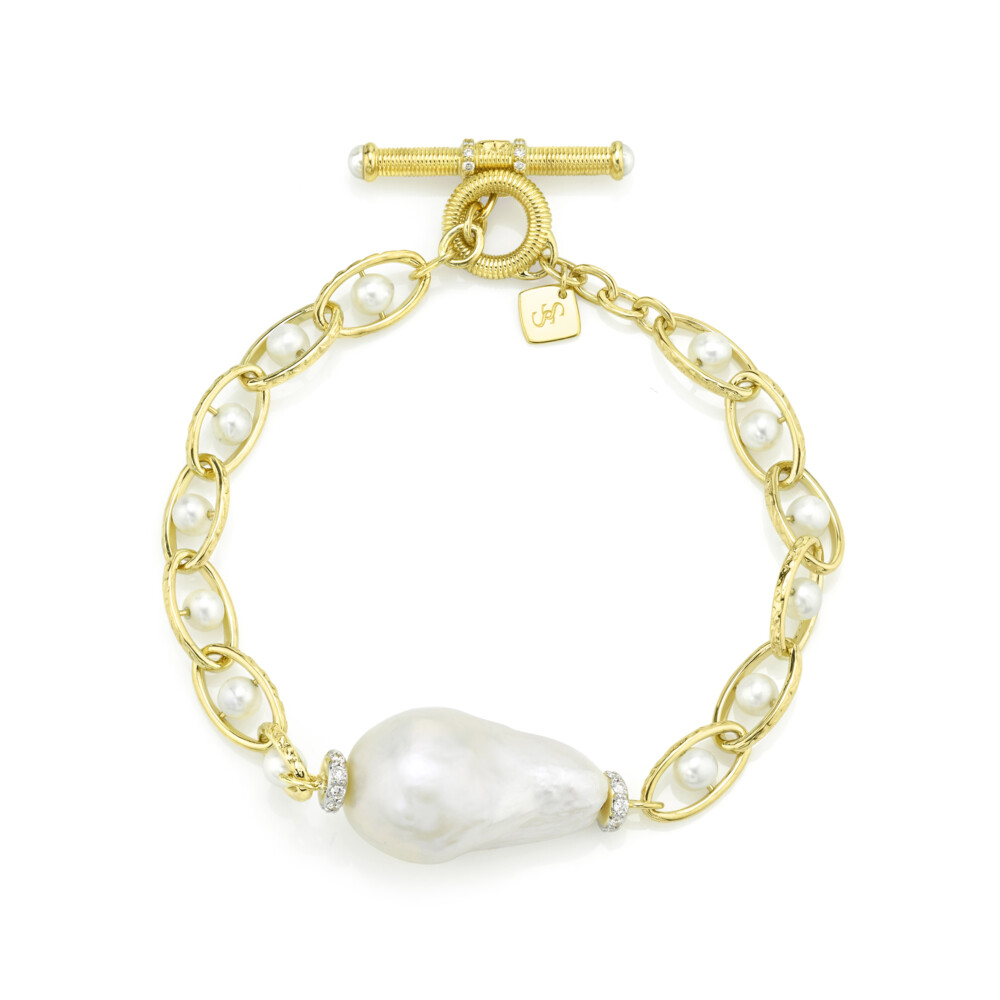 Single Baroque Pearl Chain Bracelet With Diamonds
