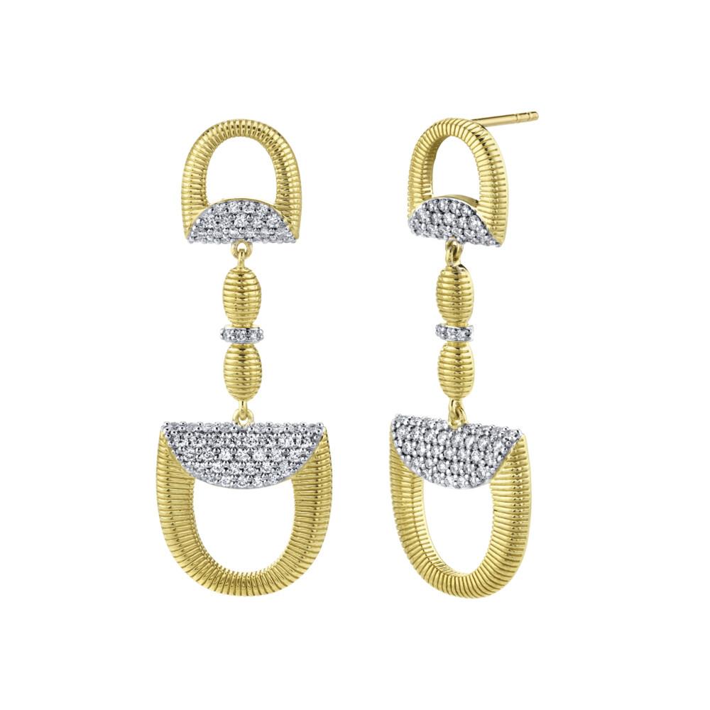 Pave Diamond Double Horse Bit Drop Earrings