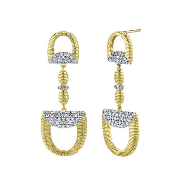 Closeup photo of Pave Diamond Double Horse Bit Drop Earrings