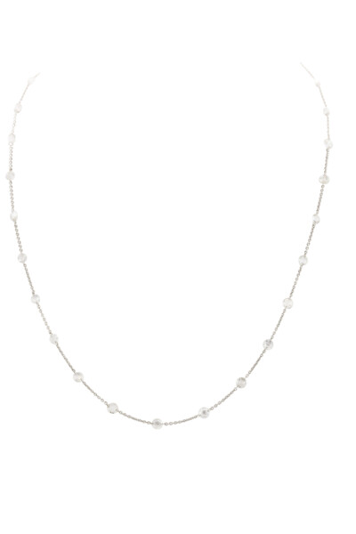 Closeup photo of SLOANE STREET ROSE CUT WHITE DIAMOND NECKLACE, 18K-WG