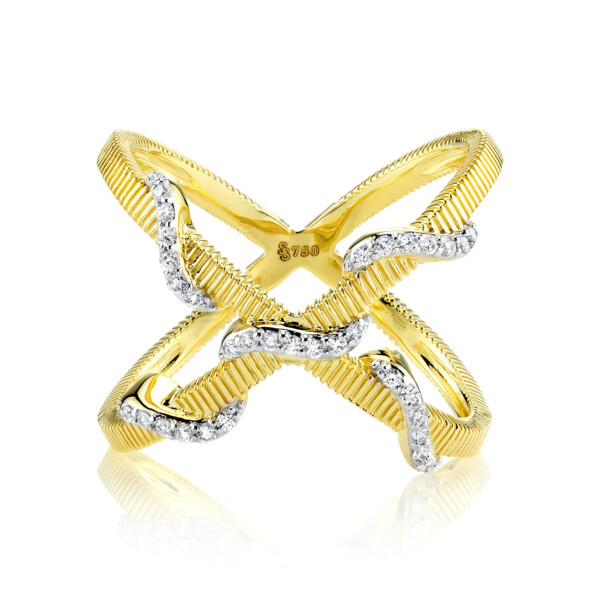 Closeup photo of CRISSCROSS DIAMOND WRAP RING