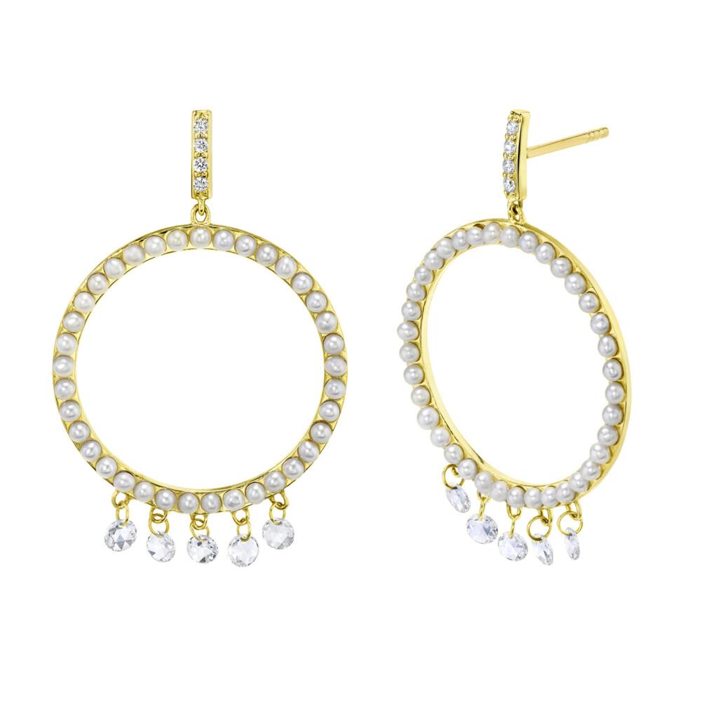 Open Seed Pearl Earrings With Dangling Rosecut Diamonds