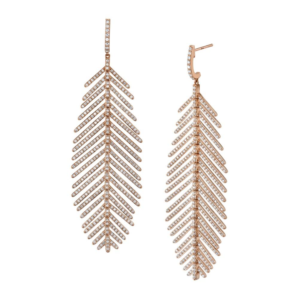 Pave Diamond Medium Feather Earrings