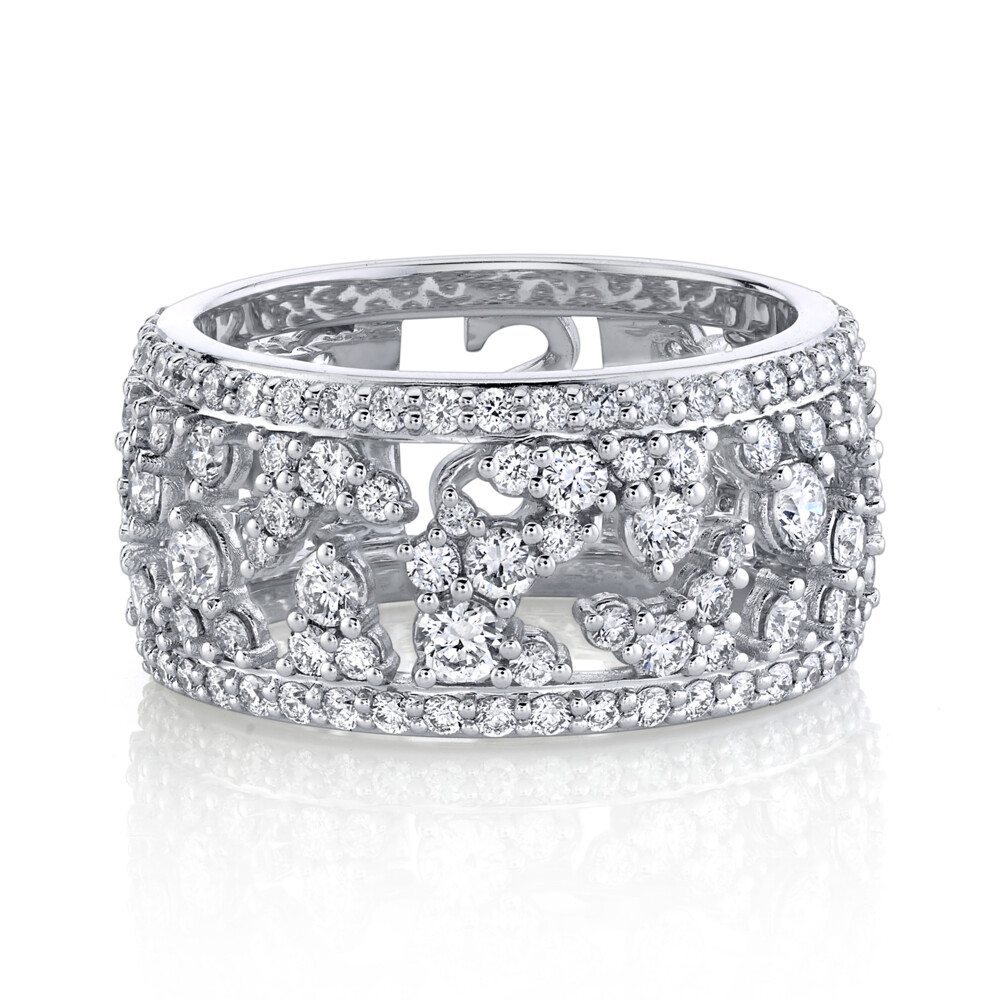 SLOANE STREET WHITE DIAMOND PAVE RING WITH WHITE DIAMOND DETAILS, 18K-WG
