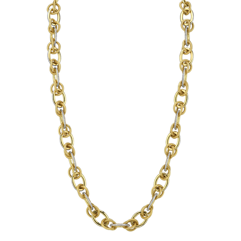 Pave Diamond And Strie Link Chain