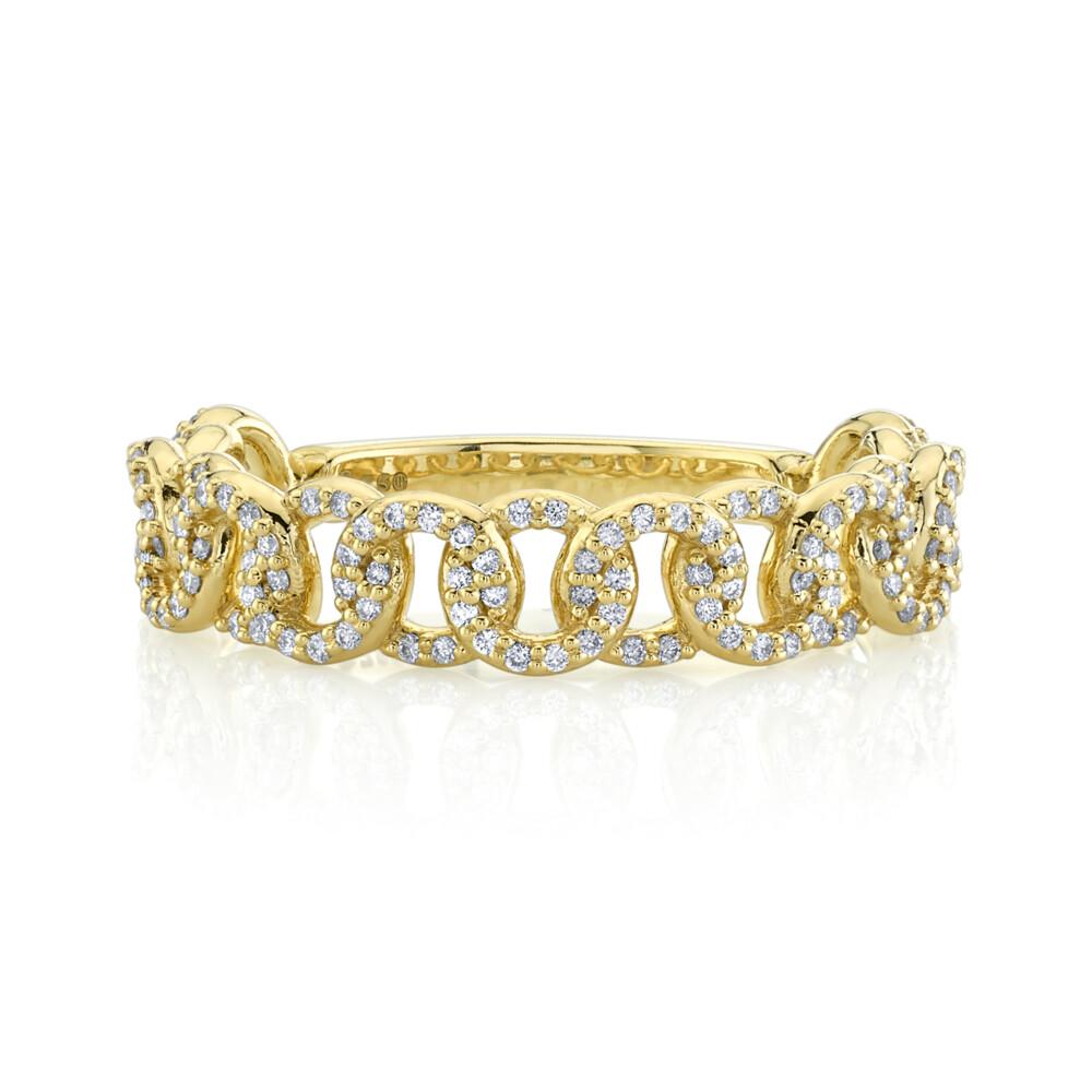 SLOANE STREET DIAMOND LINK RING, 18K-YG