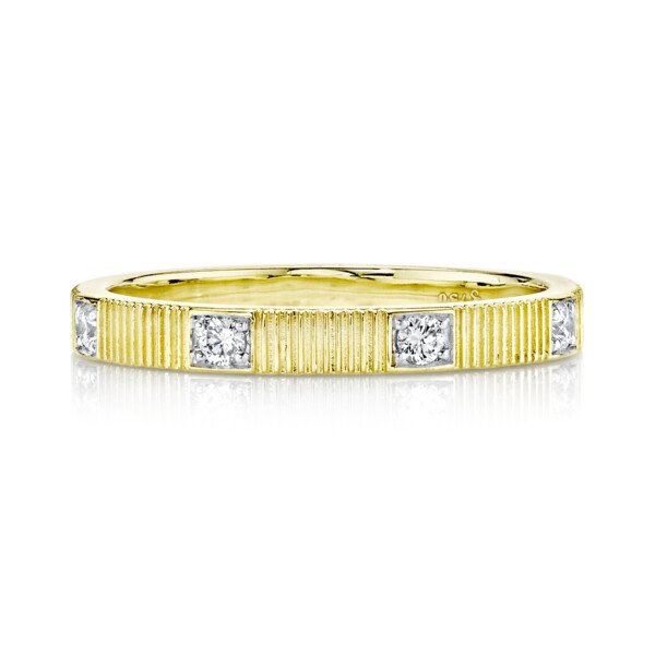 Closeup photo of Strie Stacker Band With Diamonds