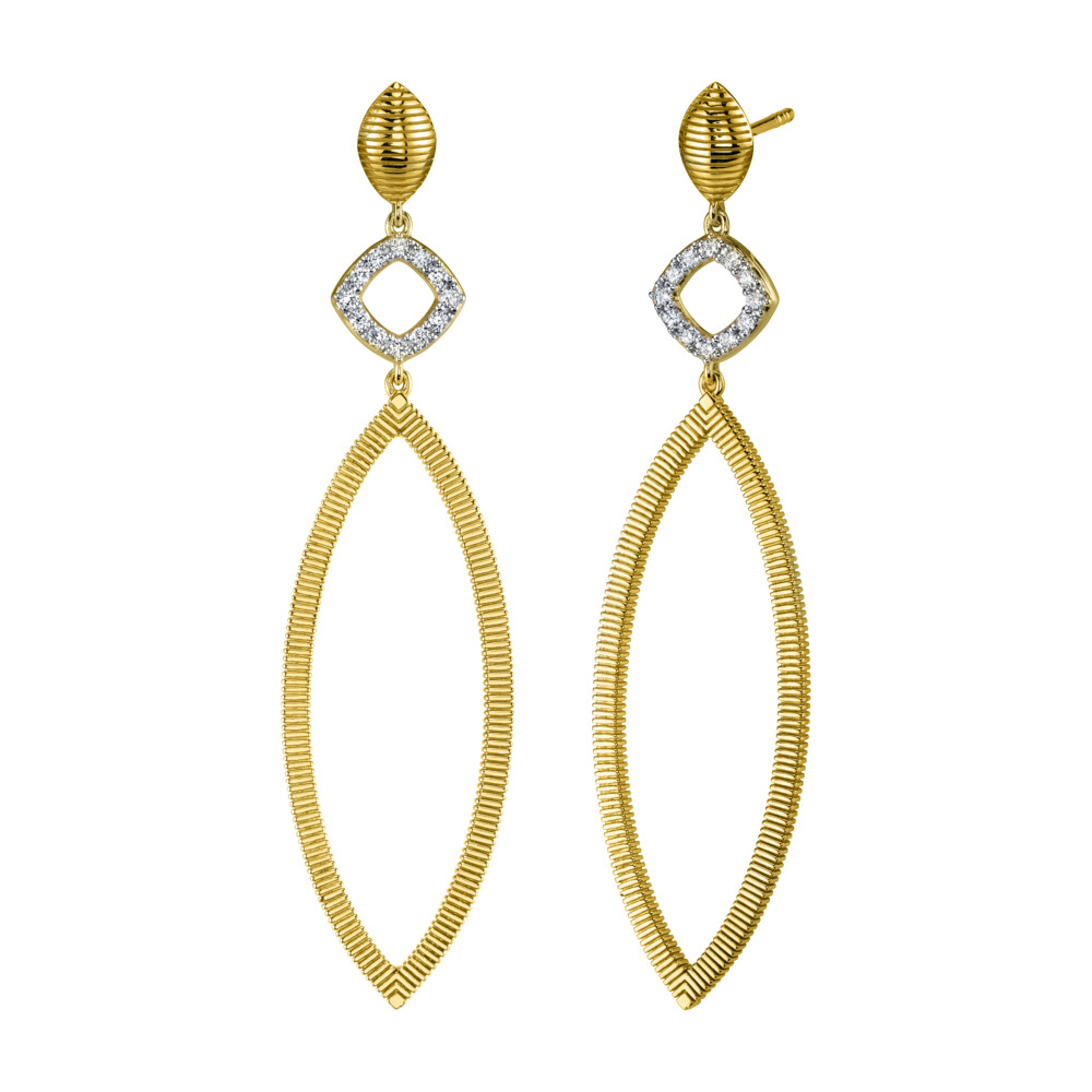 Diamond And Strie Large Marquise Earrings