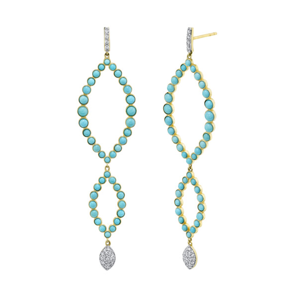 Closeup photo of Triple Marquis Turquoise Earrings With Pave Diamonds