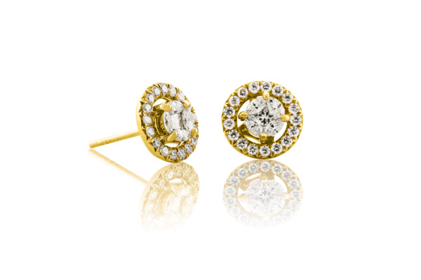 Closeup photo of SLOANE STREET MARQUIS WHITE DIAMOND STUD EARRINGS, WHITE DIAMOND JACKET, 18K-RG