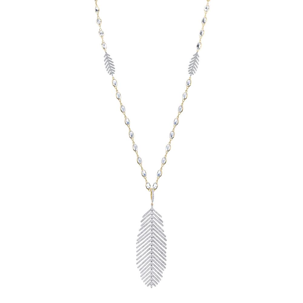 Pave Diamond Large Feather Pendant