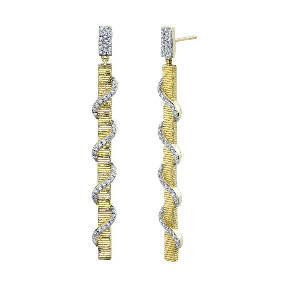 Strie Stick Earrings With Pave Diamond Wrap