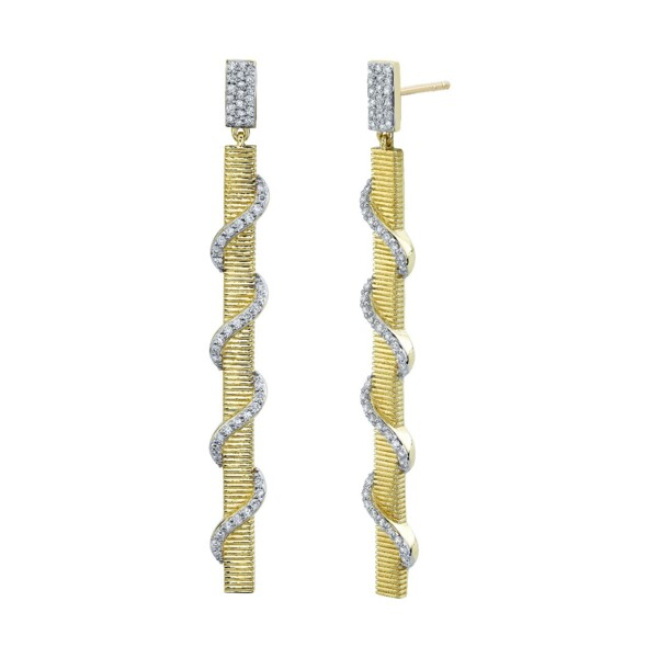 Closeup photo of Strie Stick Earrings With Pave Diamond Wrap