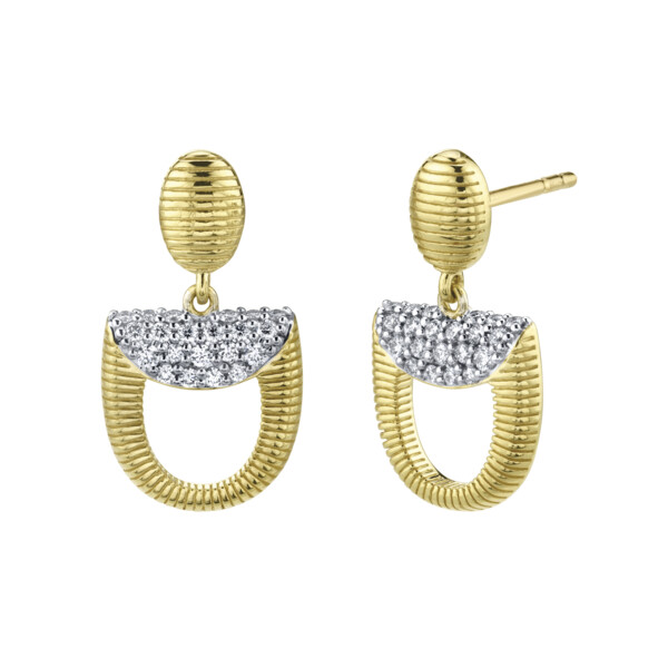 Closeup photo of Pave Diamond Dainty Horse Bit Drop Earrings
