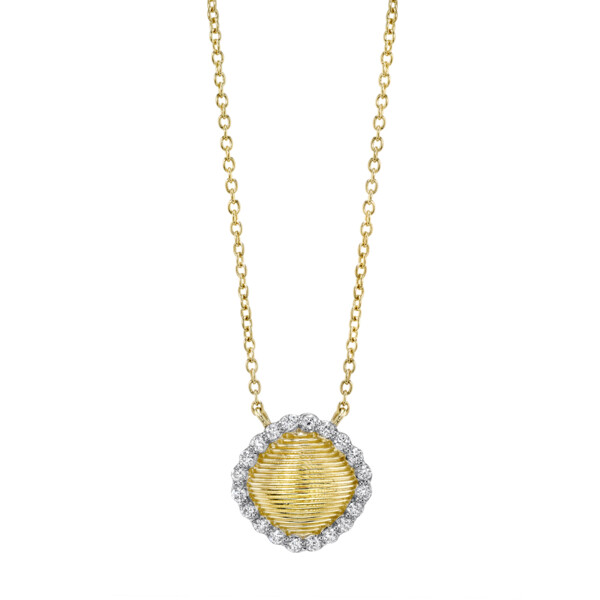 Closeup photo of Strie Cushion Pendant With Diamonds