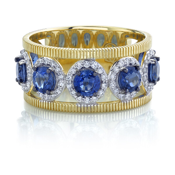 Closeup photo of SLOANE STREET BLUE SAPPHIRE BAND WITH WHITE DIAMOND DETAILS, 18K-YG
