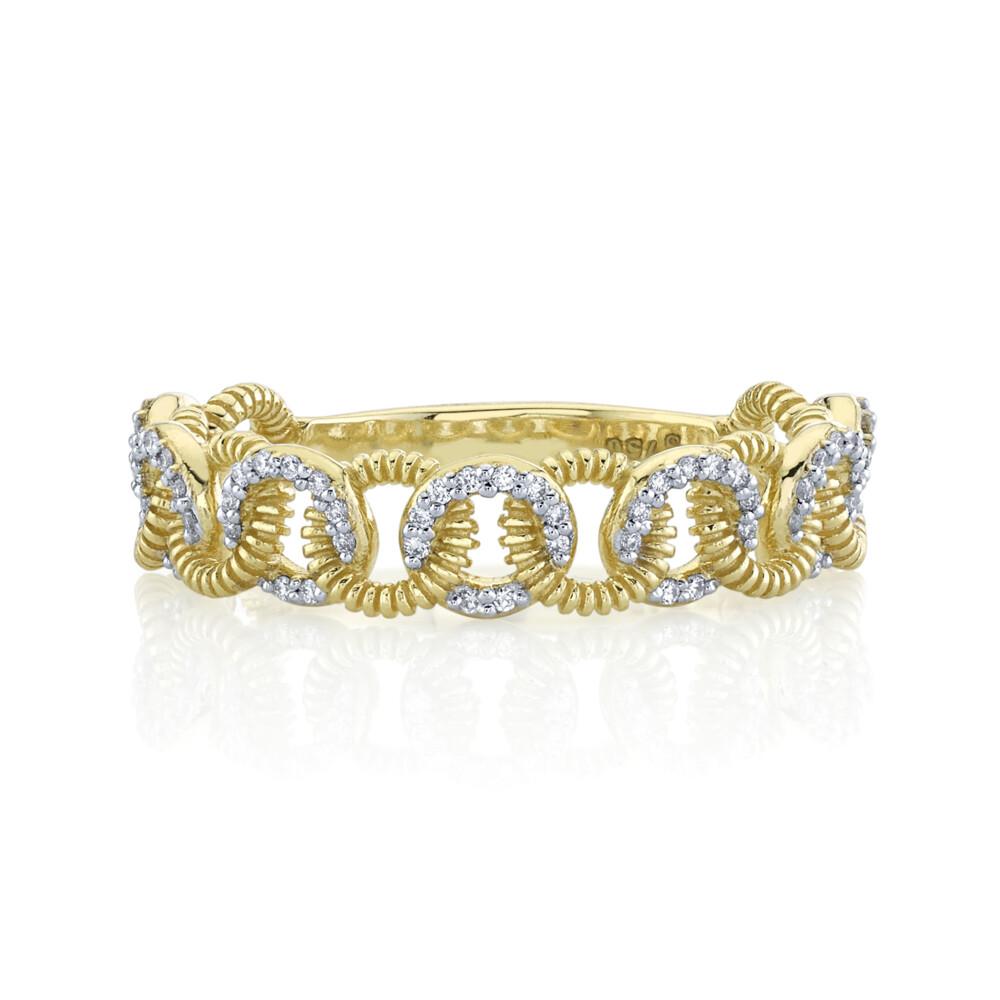 SLOANE STREET WHITE DIAMOND RING WITH STRIE DETAILS, 18K-YG