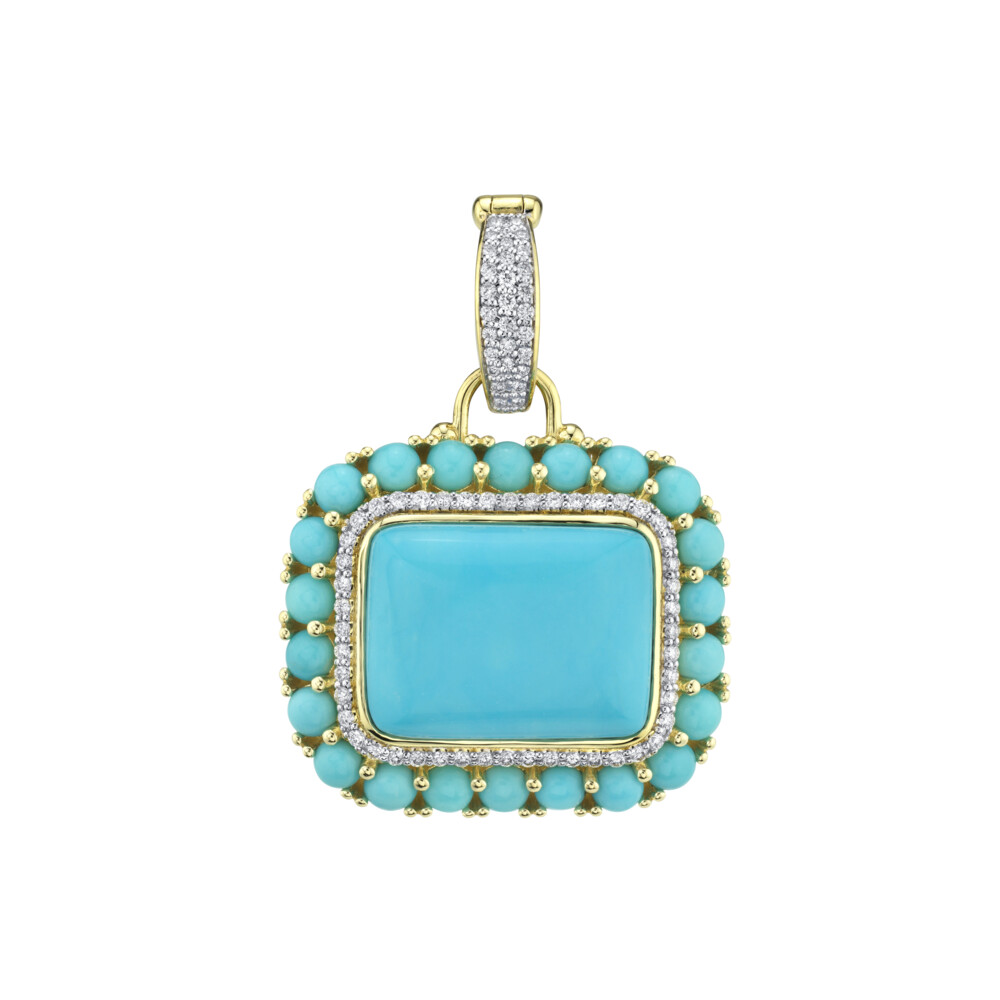 Turquoise Pendant With Pave Diamonds
