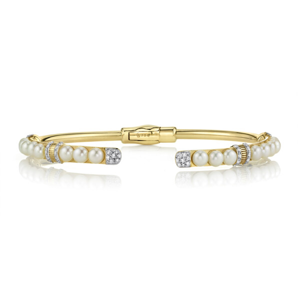 Closeup photo of Open Seed Pearl Bangle With Pave Diamond Ends