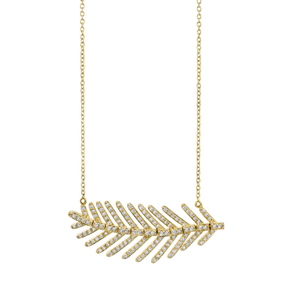 Pave Diamond Medium Feather Pendant