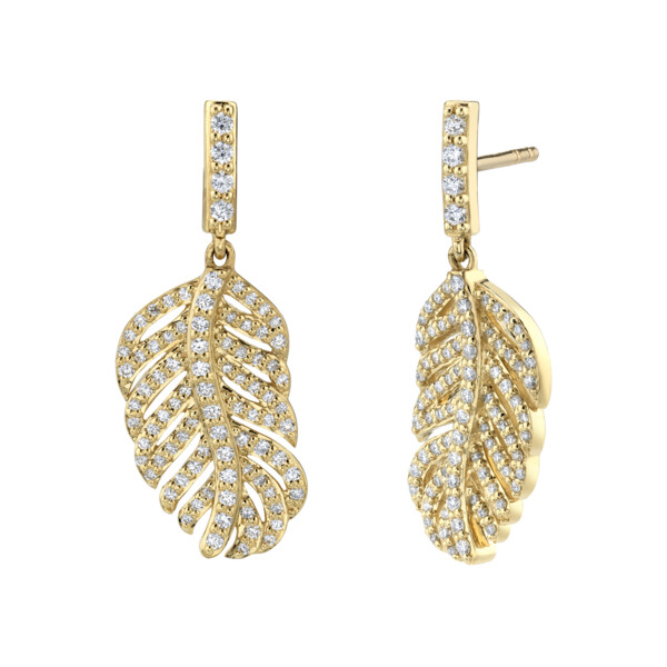 Closeup photo of Pave Diamond Small Feather Drop Earrings