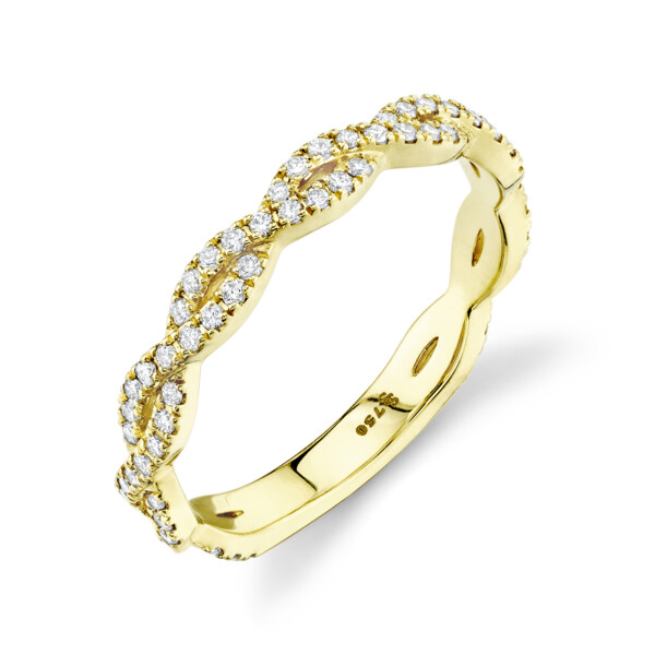 Closeup photo of SLOANE STREET BRAIDED RING WITH WHITE DIAMOND DETAIL, 18K-YG