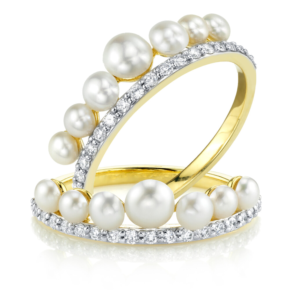 Seed Pearl And Pave Diamond Guard Rings