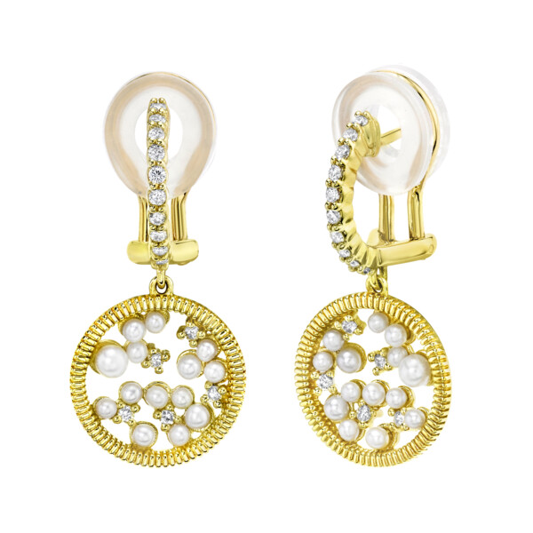 Closeup photo of Celestial Seed Pearl And Diamond Small Drop Earrings