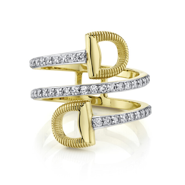 Closeup photo of Pave Diamond Wrap Around Double Horse Bit Ring