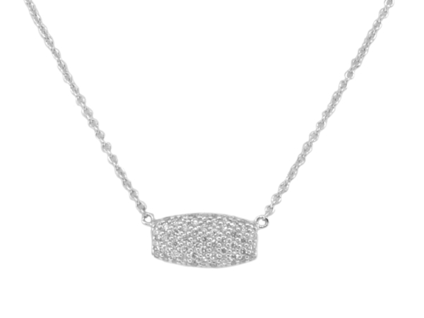 Closeup photo of SLOANE STREET PAVE WHITE DIAMOND SAMANTHA ON SIMPLE 18K WG CHAIN