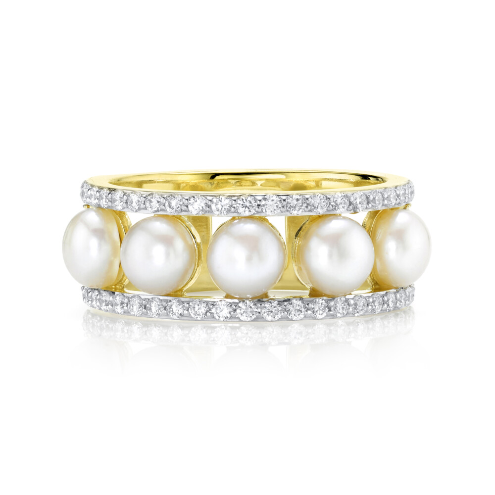 Seed Pearl Band With Pave Diamond Edges