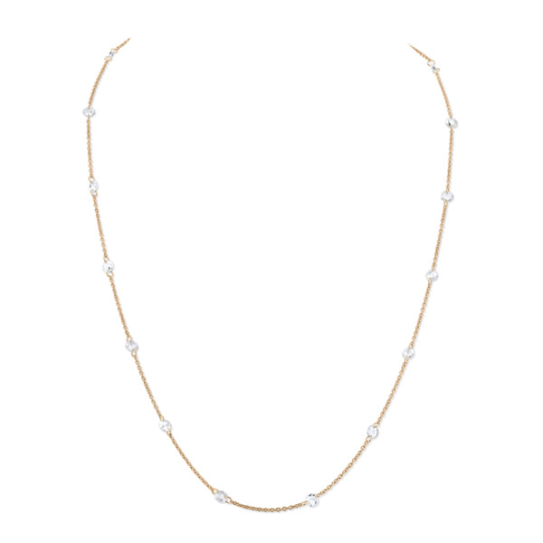 Closeup photo of SLOANE STREET ROSE CUT WHITE DIAMOND CHAIN, 18K-RG