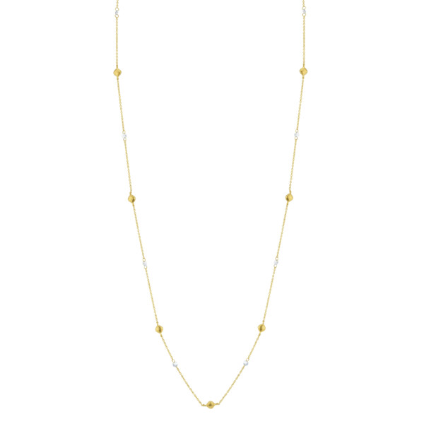 "Closeup photo of SLOANE STREET STRIE STATION AND ROSE CUT DIAMOND CHAIN, 42"", 18K-YG"