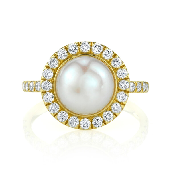 Closeup photo of Pave Diamond Solitaire Pearl Ring